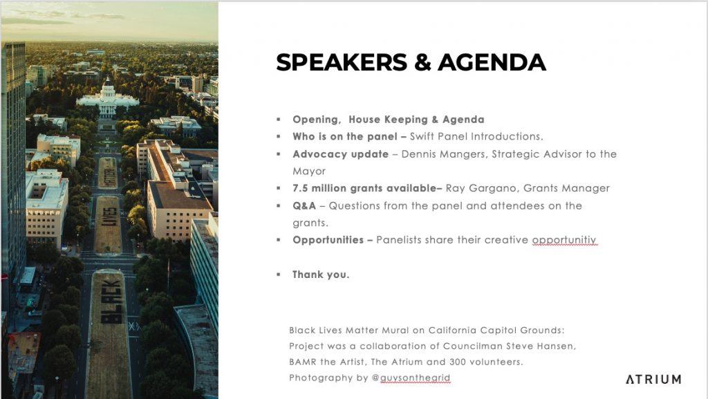 Sacramento Creative Economy Meeting July 11, 2020 - The Atrium Agenda