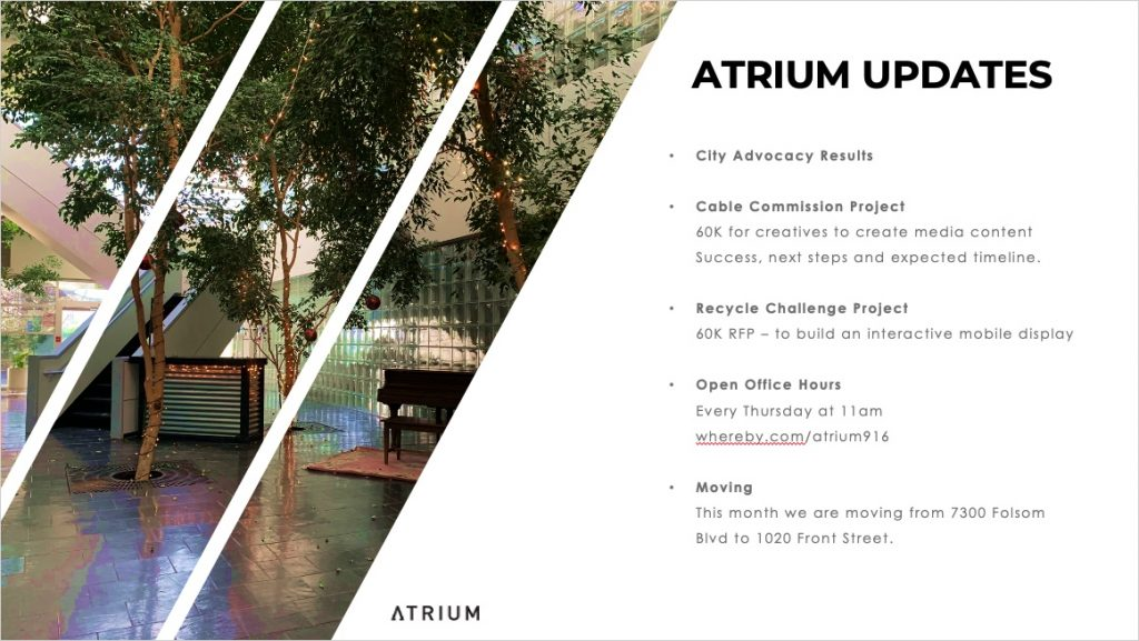 Sacramento Creative Economy Meeting July 11, 2020 - The Atrium Updates